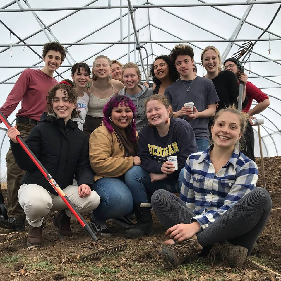 Students in the hoop house